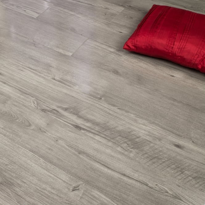 Glossy Varnished - 8mm High Gloss Laminate Flooring - Grey Wood