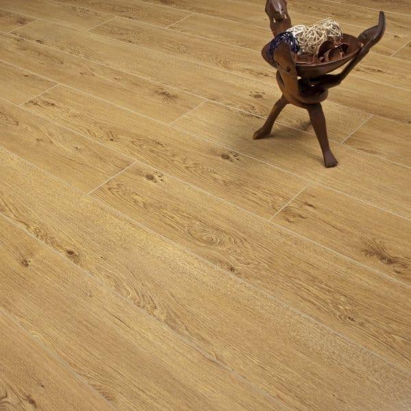 High Gloss Laminate Flooring Mid Oak 12mm
