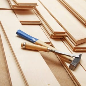 Solid wood flooring boards and tools