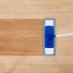 Image of a mop cleaning a wood floor