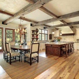 Image of a rustic room with lots of wood