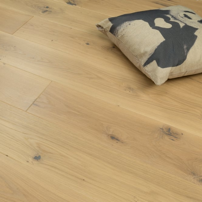 Aspire Click - 14mm x 180mm x 1.8m Engineered Oak Flooring - Silver Brushed Matt Lacquered