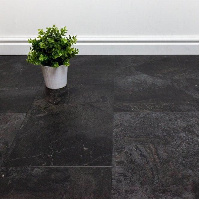 Viktor - Premium LVT Tile Effect - Black Stone