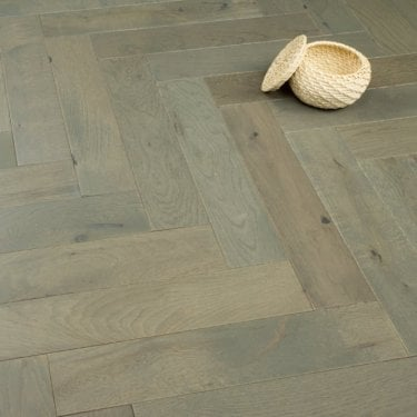Chelsea Engineered Herringbone Parquet Flooring Grey Oak 14/3 x 90mm Matt Lacquered 1.215m2