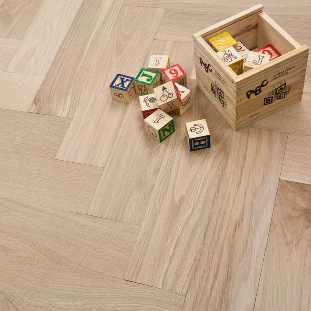 clearance engineered herringbone parquet flooring oak 185 x 80mm unfinished - Parquet Flooring