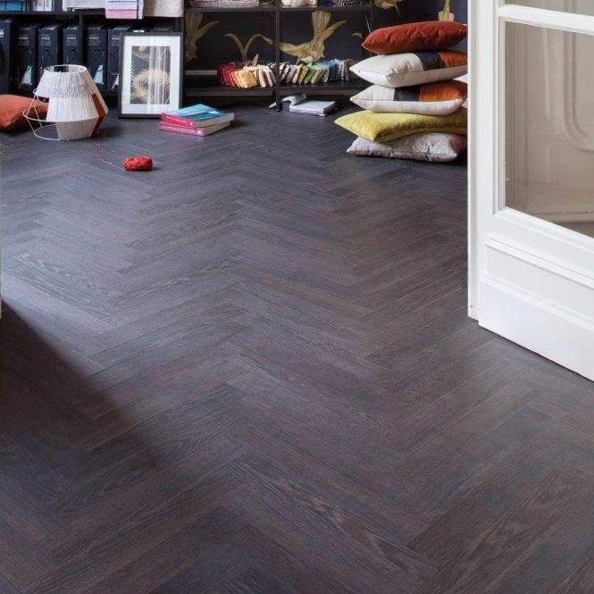 Elegantia - 8mm Herringbone flooring - Attic Black