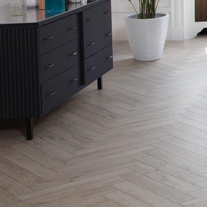 Elegantia - 8mm Herringbone flooring - Chateau Grey