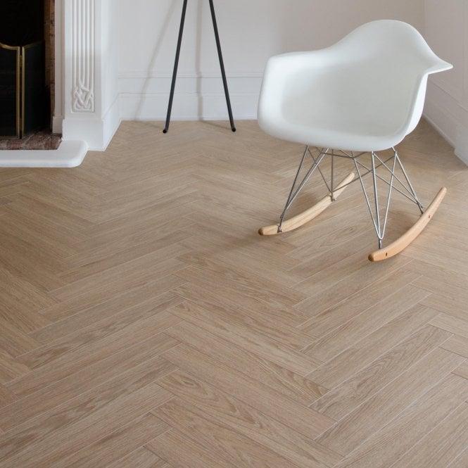 Elegantia - 8mm Herringbone flooring - Pale Oak