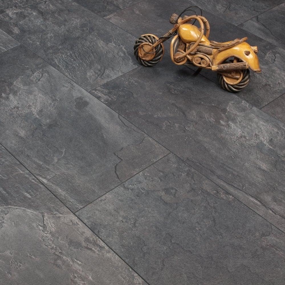 Elite Stone 8mm Tile Effect Laminate Flooing Dark Slate 2047