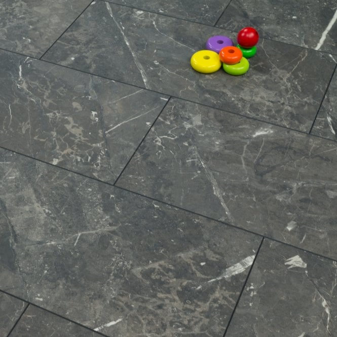 Elite Stone - 8mm Tile Effect Laminate Flooring - Black Granite