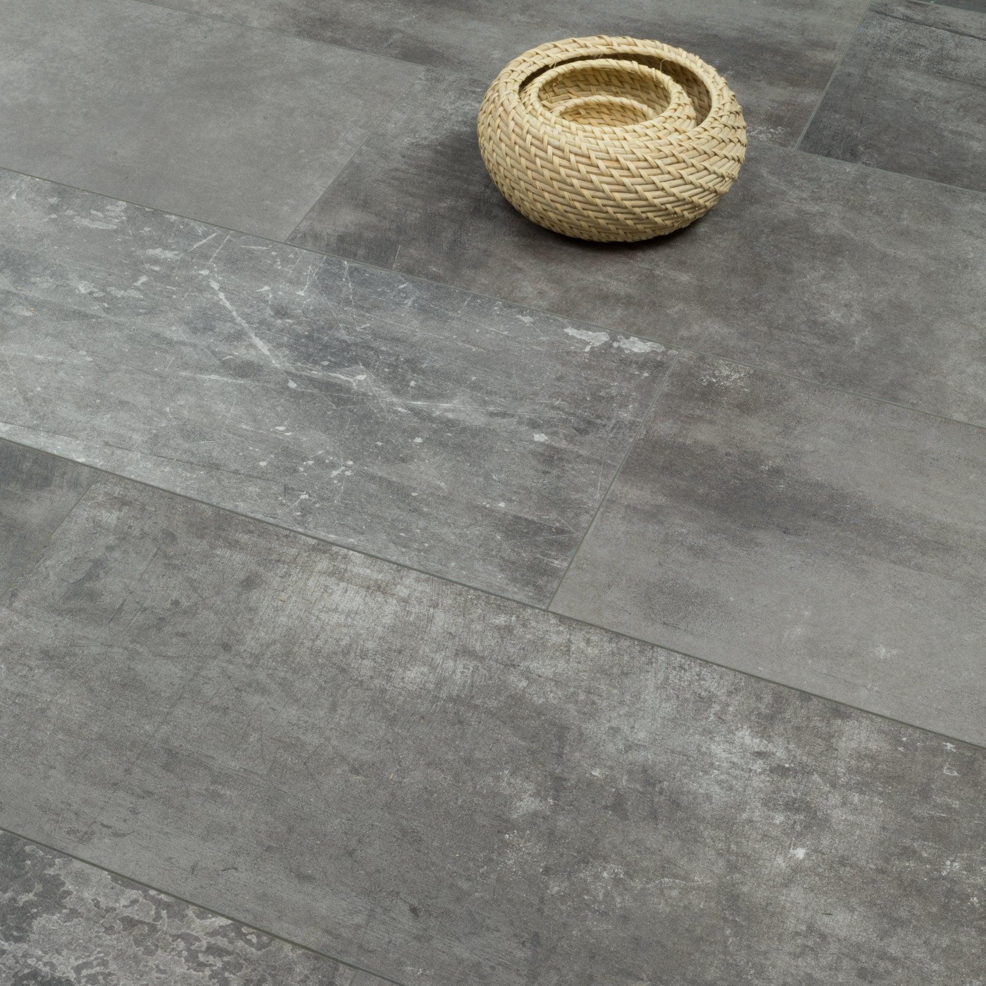Graphite Screed Tile Effect Laminate, Stone Tile Effect Laminate Flooring