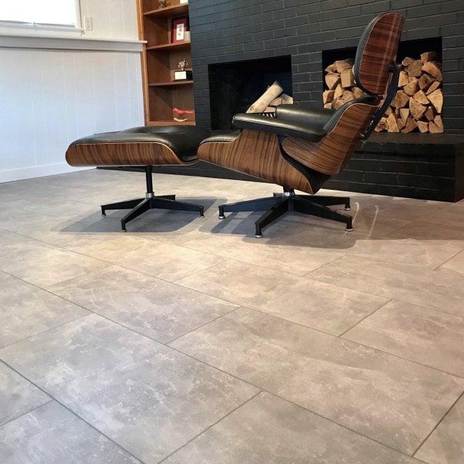 Elite Stone - 8mm Tile Effect Laminate Flooring - Light Screed