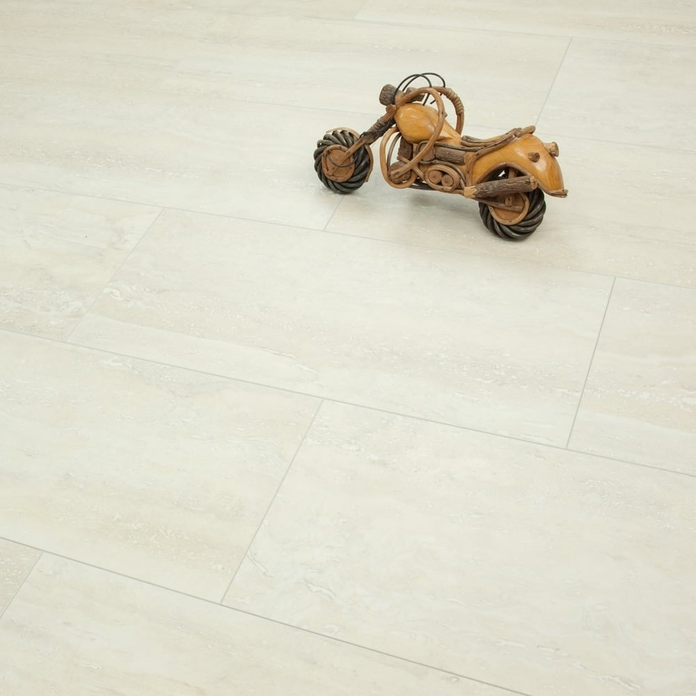 Elite Stone 8mm Tile Effect Laminate Flooring White Travertine