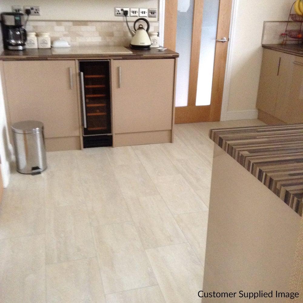 Elite Stone   9mm Tile Effect Laminate Flooring   White Travertine