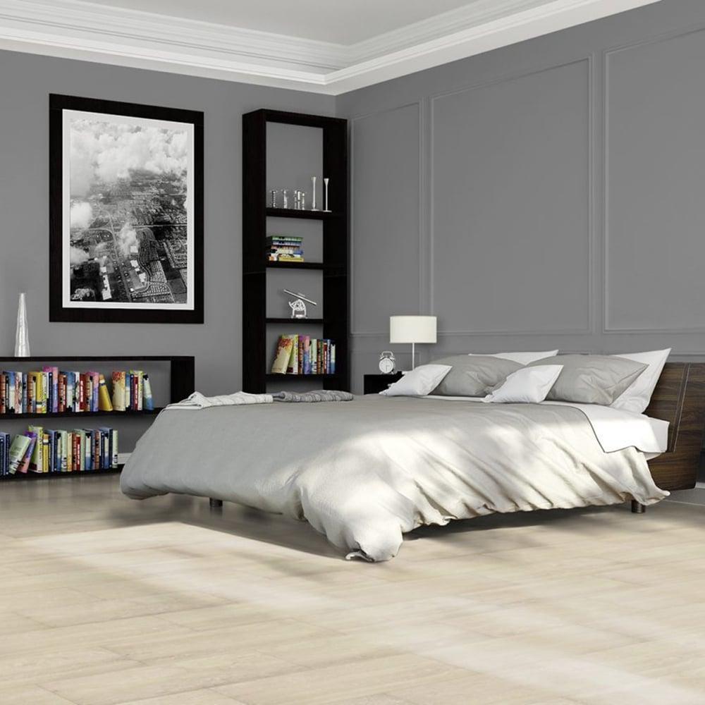 Elite Stone - 9mm Tile Effect Laminate Flooring - White Travertine