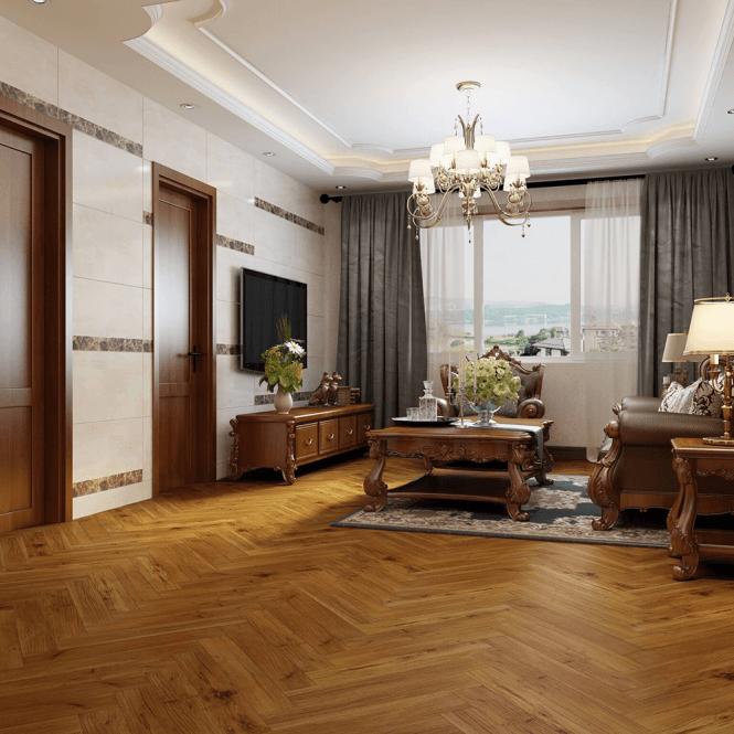 Emperor - 12mm Laminate Flooring - Golden Walnut Herringbone Oak