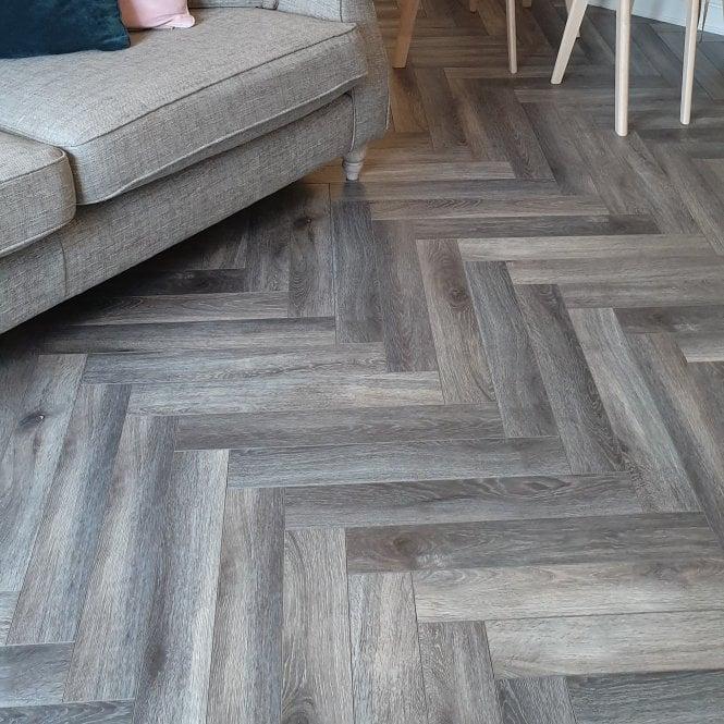 Emperor - 12mm Laminate Flooring - Grey Herringbone Oak