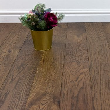 Eternity Cognac - 14mm x 125mm Engineered Oak Flooring Dark Oak - Brushed and Lacquered