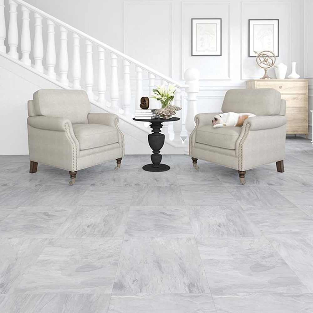 Executive - 8mm Tile Effect Laminate Flooring - Light Grey Slate ...