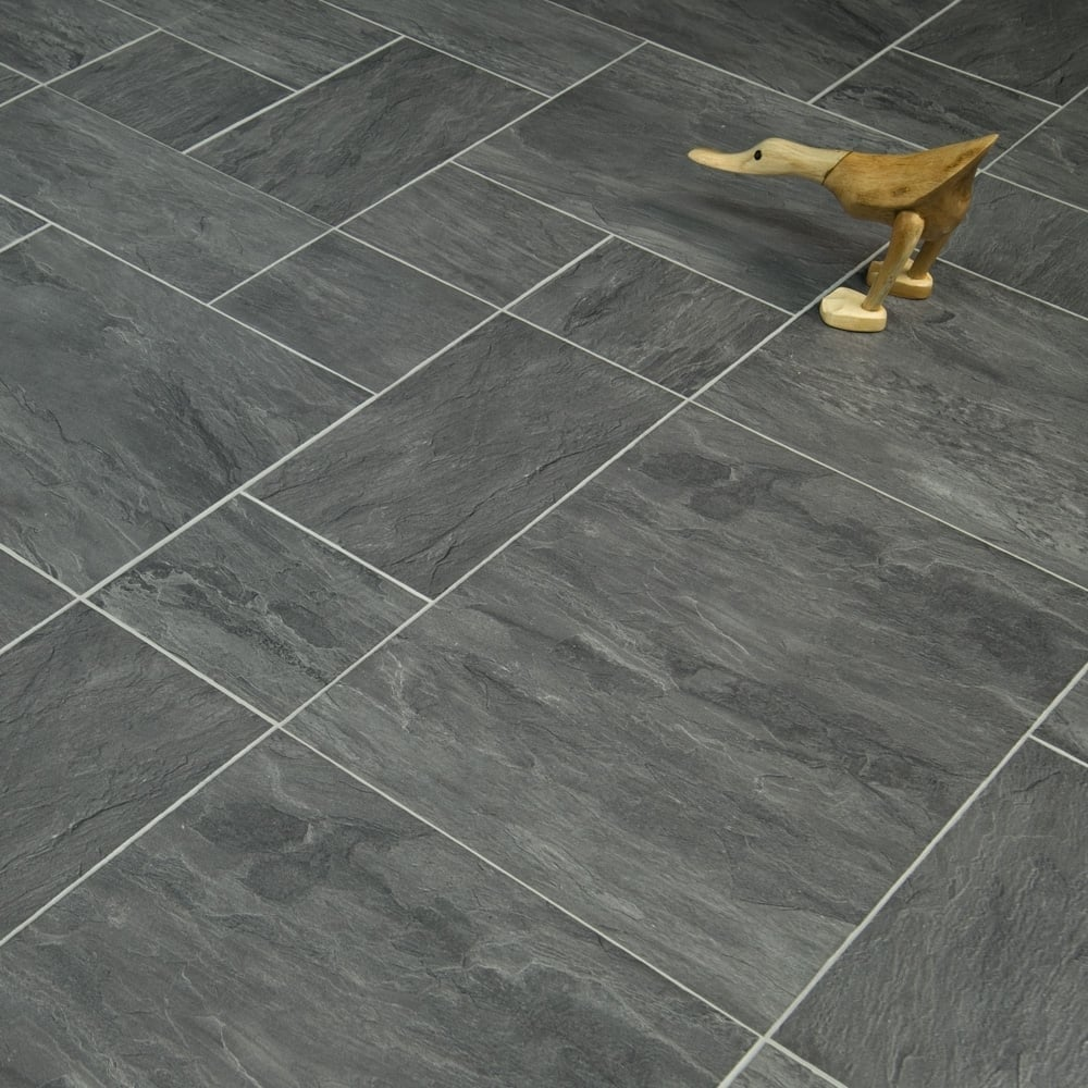 Executive 8mm Tile Effect Laminate Flooring Slate Black 232m2