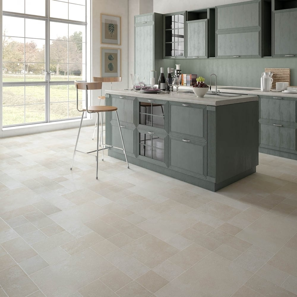 Executive 8mm tile effect laminate multi beige 2 32m2