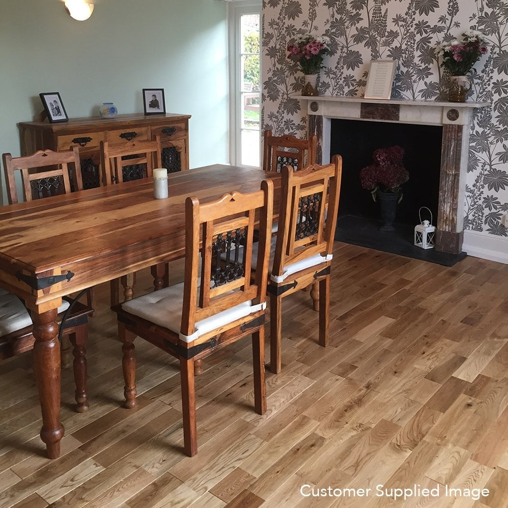 Finger Joint Solid Wood Flooring Oak Lacquered