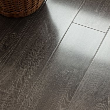 Glossy Varnished - 8mm High Gloss Laminate Flooring - Graphite Oak