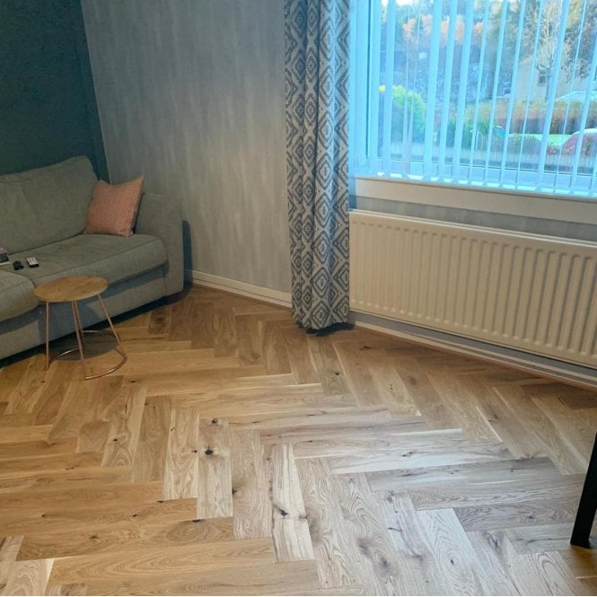 Hampton Herringbone - 14mm Parquet Engineered Flooring - Oak Brushed Natural Oiled