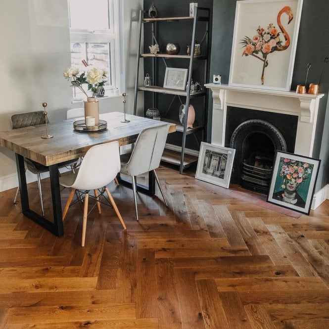 Hampton Herringbone - 14mm Parquet Engineered Flooring - Oak Cognac Matt Lacquered