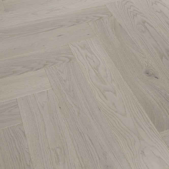 Hampton Herringbone - 14mm Parquet Engineered Flooring - Oak Pebble Grey Lacquered