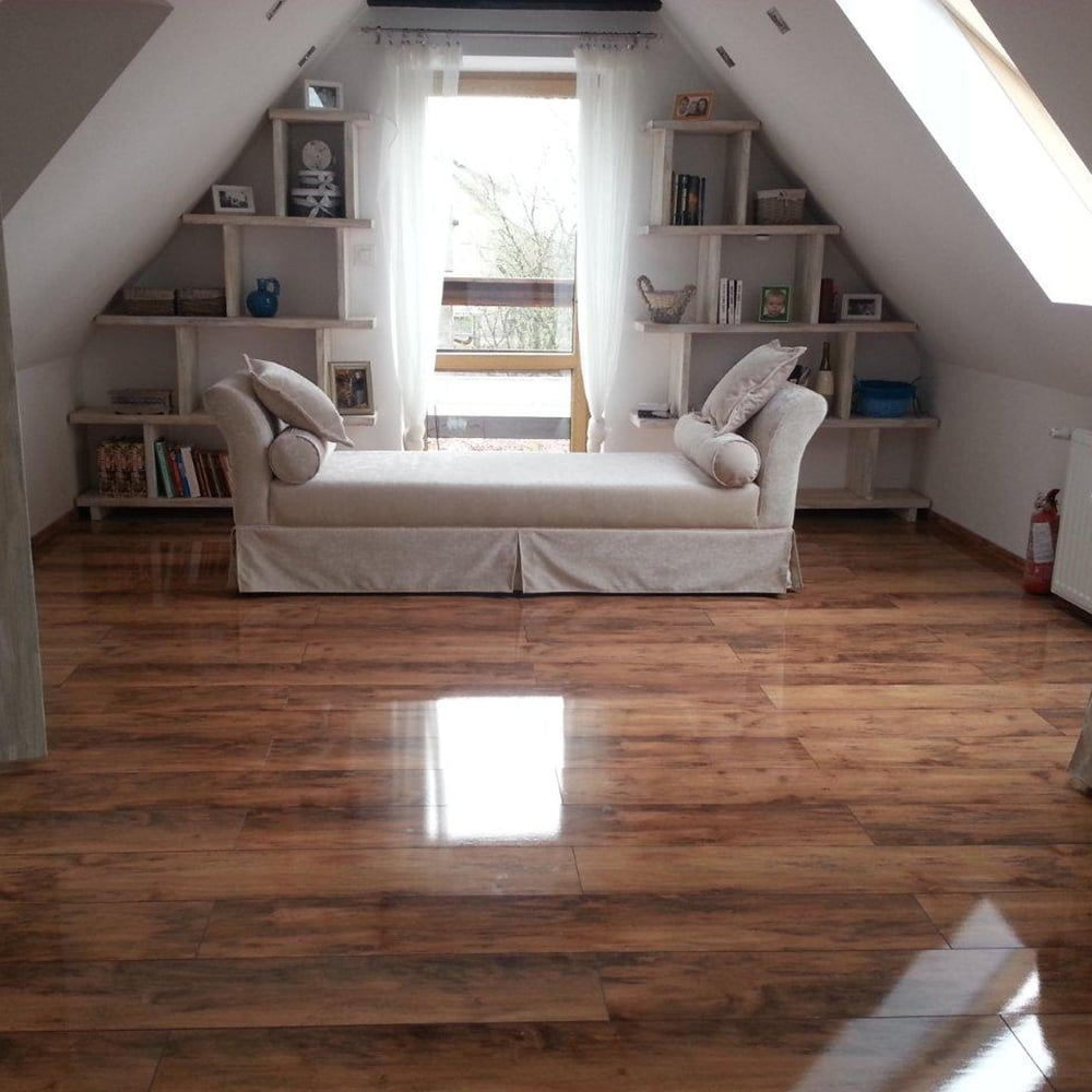 High Gloss Laminate Flooring Dark Walnut
