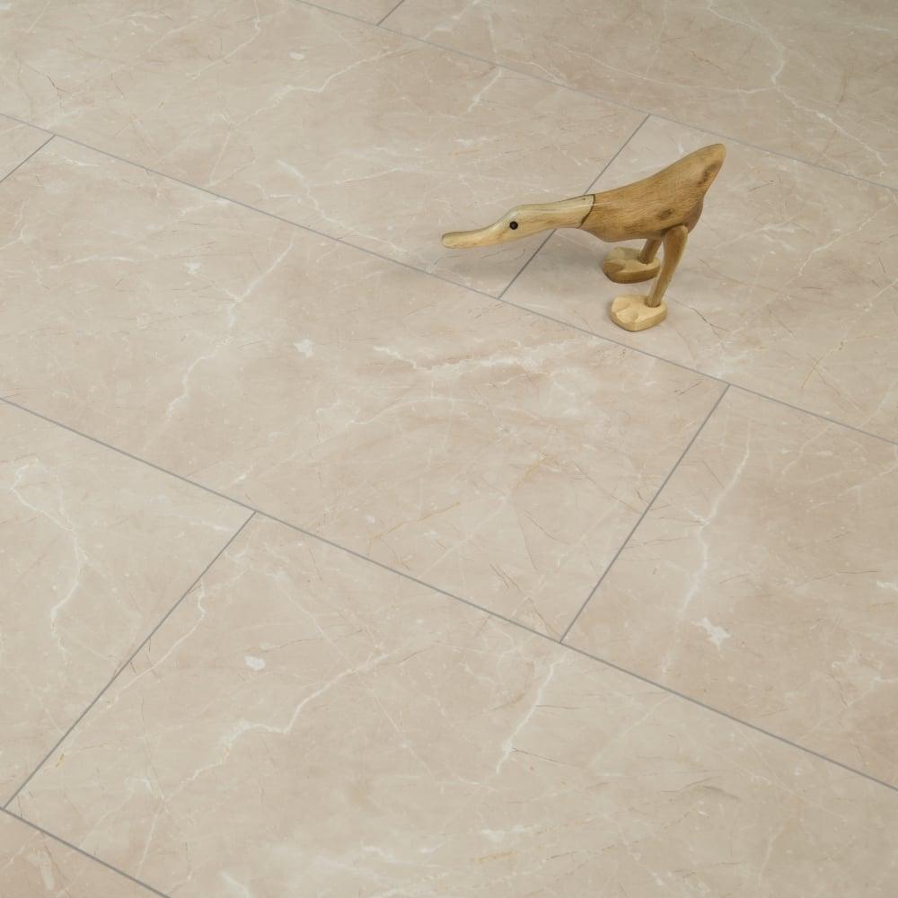 High Gloss 8mm Tile Effect Laminate Flooring Beige Marble