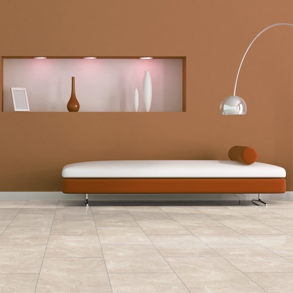 High Gloss 8mm Tile Effect Laminate Flooring Beige