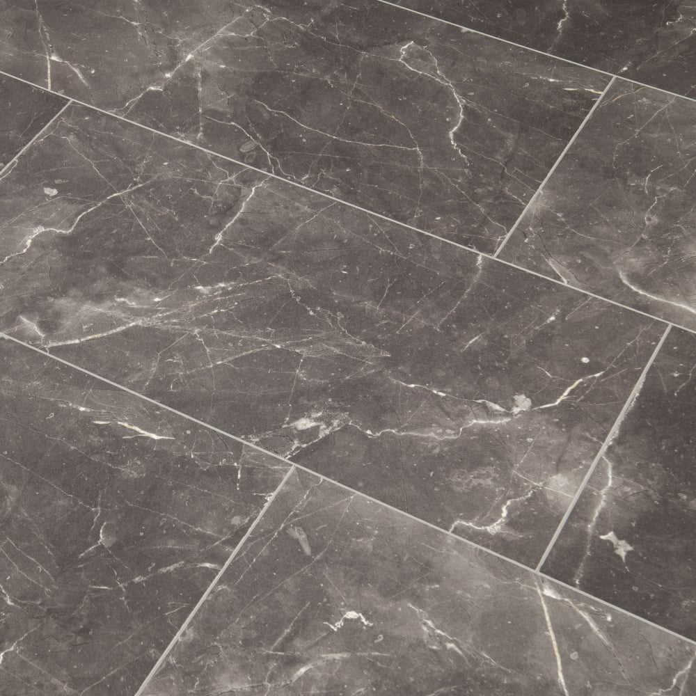 High Gloss 8mm Tile Effect Laminate Flooring Grey Marble 1 996m2