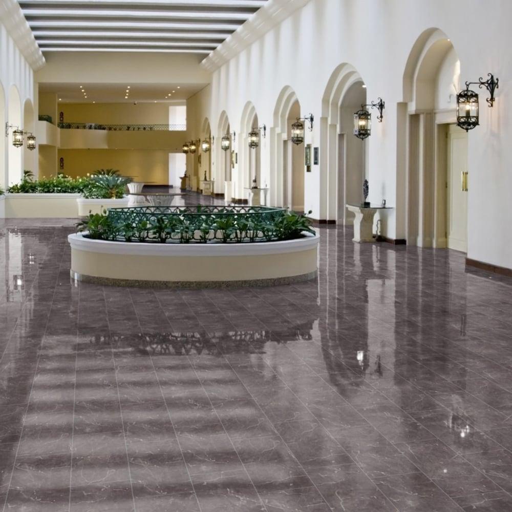 High Gloss 8mm Tile Effect Laminate Flooring Grey Marble 1996