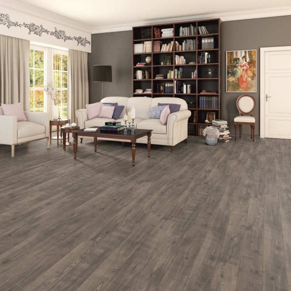 Horizon grey brown oak 8mm v groove ac3 laminate for Grey brown floor tiles