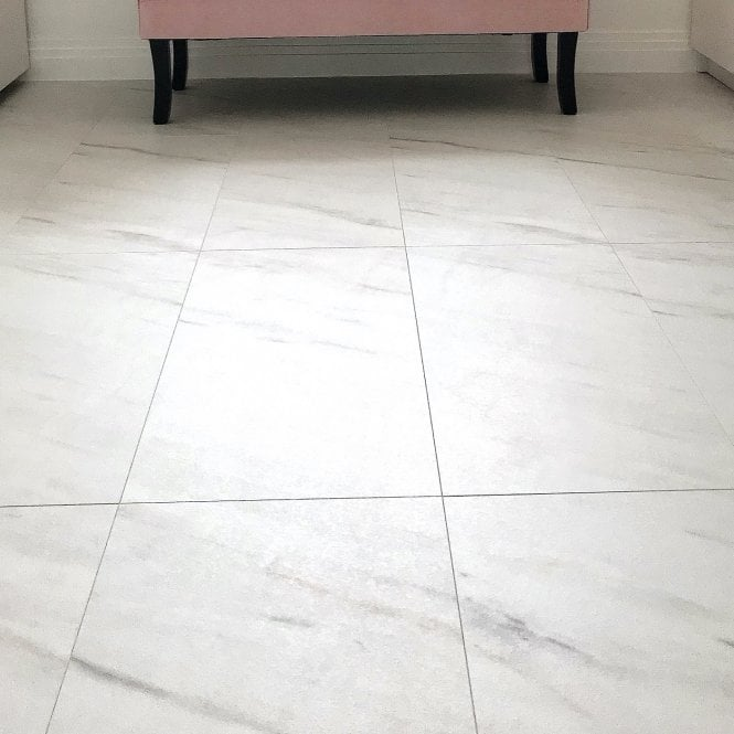 Hydro Guard - 8mm Water resistant Laminate Flooring - White Marble Tile Effect