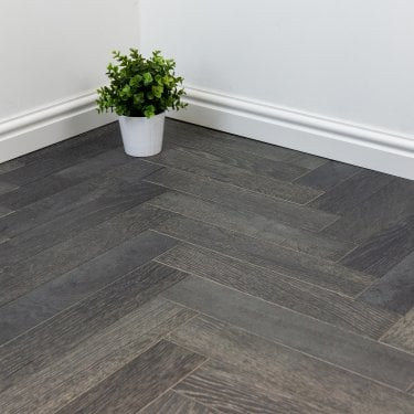 Lakewood Engineered 14/3mm Herringbone Parquet Flooring - Grey Oak Brushed UV Lacquered