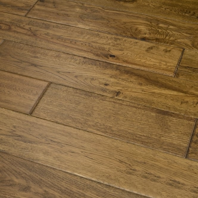 Platinum Series Solid Oak Flooring 18mm x 120mm Hand Scraped UV Brandy 2.112m2