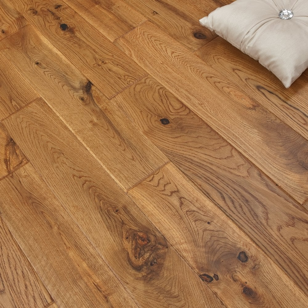 Real wood flooring solid oak 120mm uv vintage hand scraped for Unfinished oak flooring