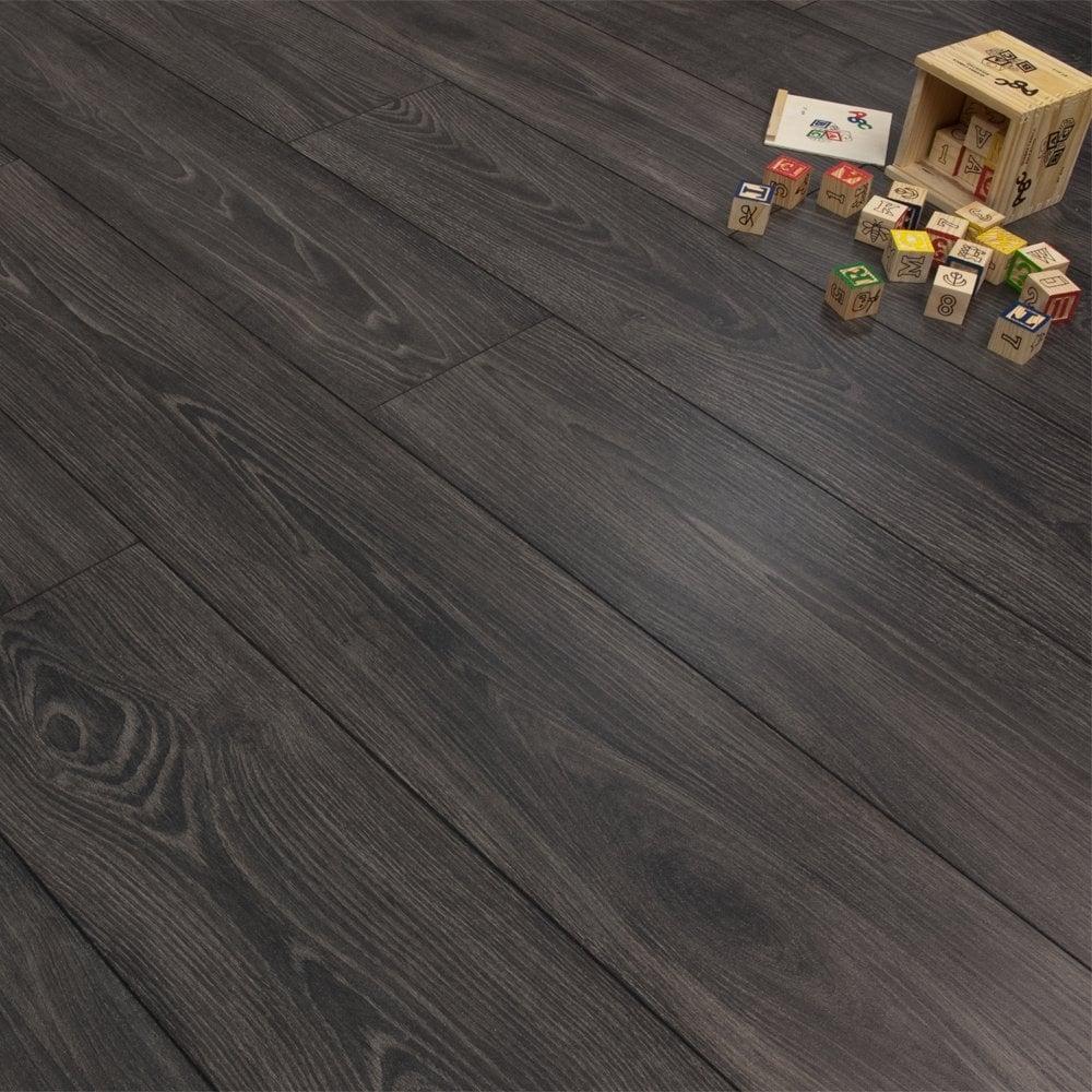 Premier Elite Black Smoked Oak 8mm Laminate Flooring V Groove Ac4 1 99m2