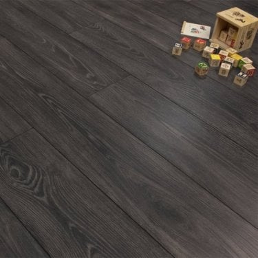 Premier Elite Black Smoked Oak 8mm Laminate Flooring V-Groove AC4 1.99m2