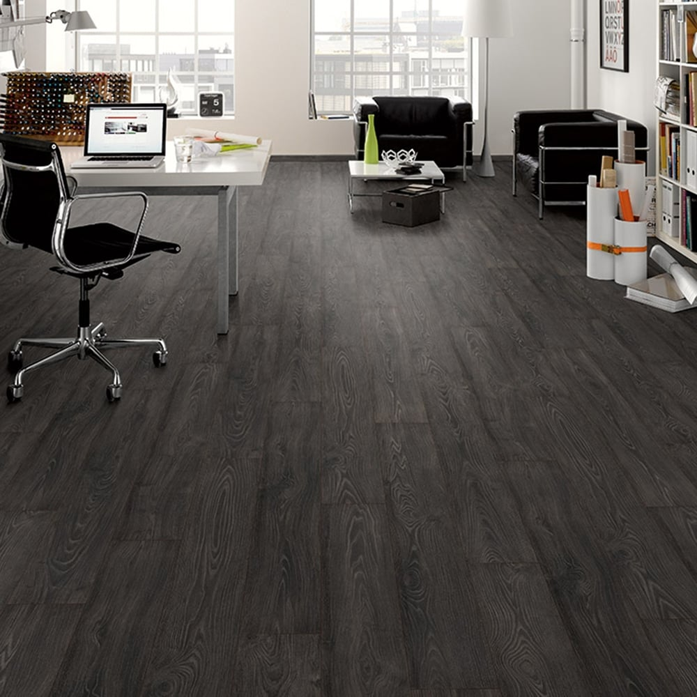Black smoked oak 8mm premier elite laminate flooring for Laminate flooring stores