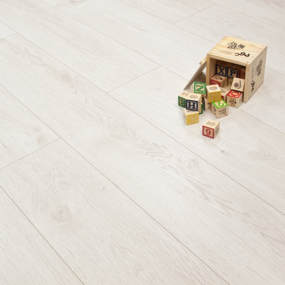 Luxury white oak 8mm premier elite laminate flooring for White laminate flooring