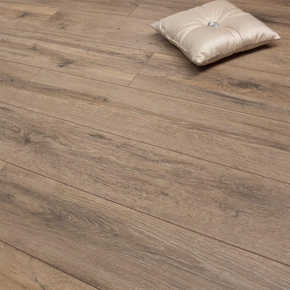 Medium french oak 8mm premier elite laminate flooring for Floor to floor carpet