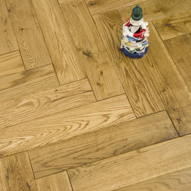 Princeton Engineered Herringbone Parquet Flooring Oak 18/5 x 90mm Smoked Brushed and Lacquered