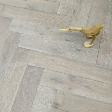 Princeton Engineered Herringbone Parquet Flooring Oak 18/5 x 90mm Smoked Brushed and White Oiled 1.6632m2