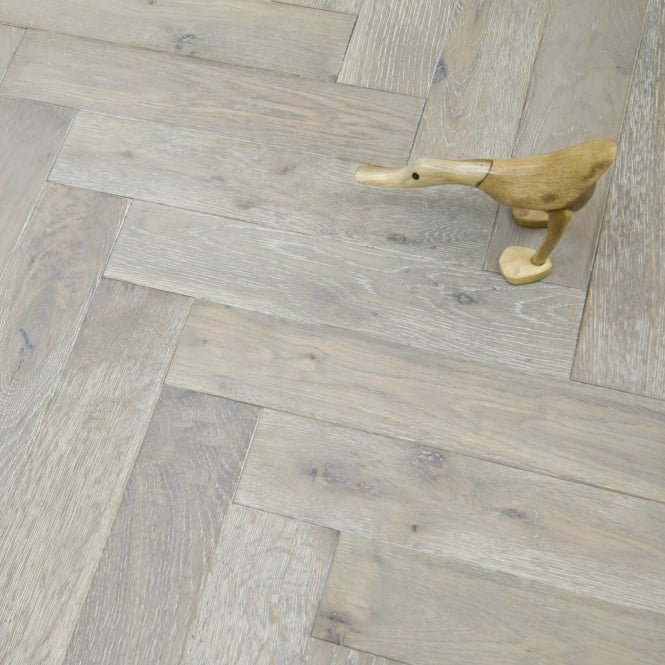 Princeton Engineered Herringbone Parquet Flooring Oak 18/5 x 90mm Smoked Brushed and White Oiled