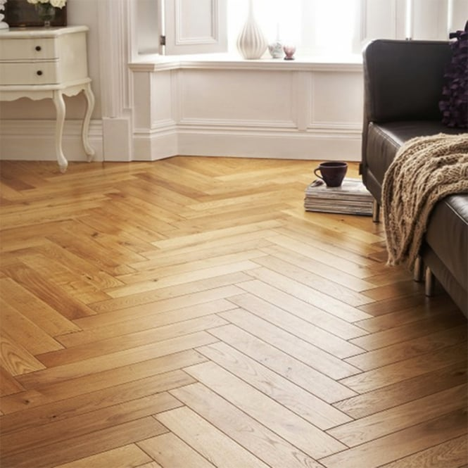 Princeton Solid Wood Herringbone Parquet Flooring Oak 18mm x 90mm Lacquered 1.6632m2