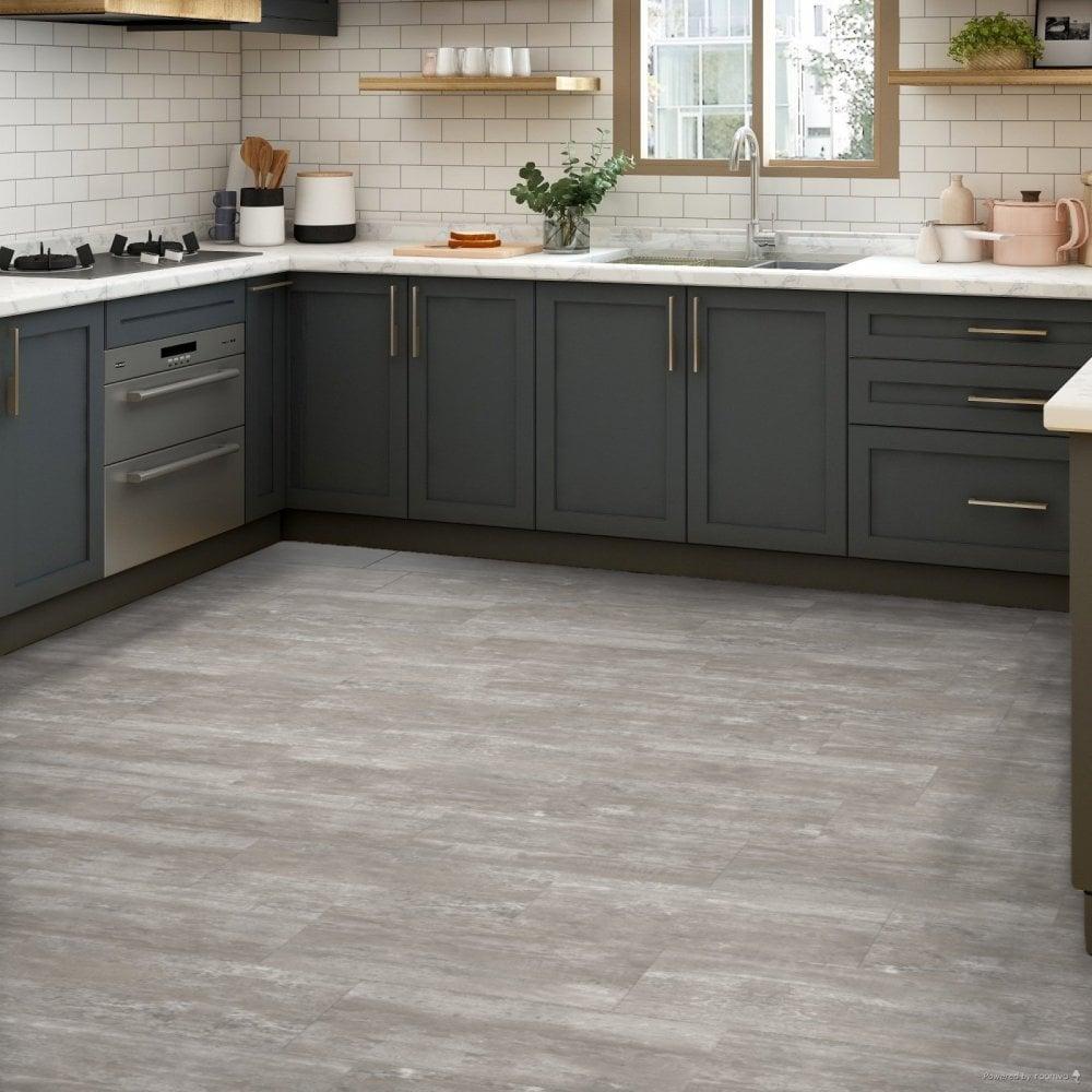 Rushmore   LVT Flooring   Grey Tile